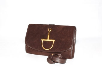 Vintage GUCCI Convertible Clutch Brown Suede Leather Stirrup Handbag -AUTHENTIC-