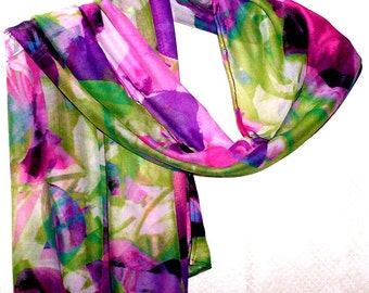 Trendy Neck Scarf, Versatile Scarf, Colorful Handcrafted Scarf, Everyday Scarf,  Soft Draping Scarf, Year Round Women's Lightweight Scarf,