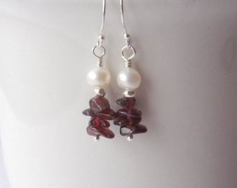 Garnet Beaded earrings, Garnet and Pearl Earrings, Gemstone, January birthstone earrings, January birthday