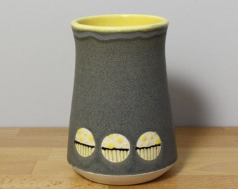 SALE! Ceramic Tumbler, Stoneware Pint Glass, Modern Drinking Glass, Tall Cup, Pottery Tumbler, Ceramic Beer Stein in Yellow and Gray