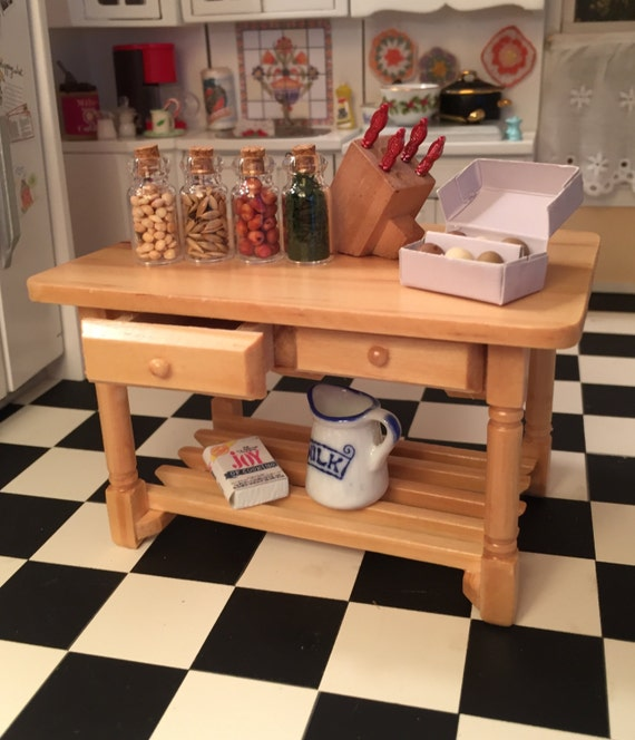Miniature Wood Kitchen Table With Drawers and Bottom Shelf, Style 3262, Dollhouse Miniature Furniture, 1:12 Scale