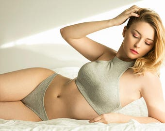 Heather Gray Lingerie Loungewear-Racer Front Sleep Bra- Other colors available- NEW