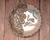 Love You Mimi Vintage Floral Lace Dragonfly Garden Jewelry Holder Ring Dish Personalized For Her, Grandmother Gift, Antique Bronze Pearl