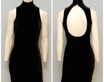 Vintage Formal Brown Velvet Full Length Dress - Sleeveless with Turtleneck and Open Keyhole Back Size 6 Maxi Dress 1990's 90's Long Dress