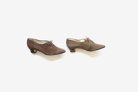 Vintage Leather Oxfords 7 / Suede Leather Oxfords / Heeled Oxfords / Lace Up Heels / Womens Oxfords