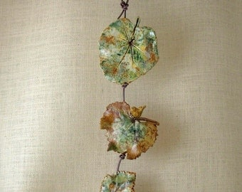 Ceramic Leaves Wall Hanging  - Made with Three Real Leaves - Fall Themed Decorative Leaf String - Leaf Impressions - Tumbling leaves Decor
