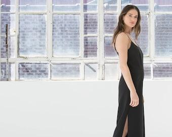 NEW Formal Jumpsuit / Evening Dress / Evening Gown / Prom Dress / Long Side Slit Dress / Long Black Dress / Marcellamoda - MD836