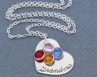 SALE • Grandma Necklace Mom Jewelry Grandma Birthday Gift Custom Heart Necklace Personalized •Birthstone Grandma Grandchildren Gift Grandkid