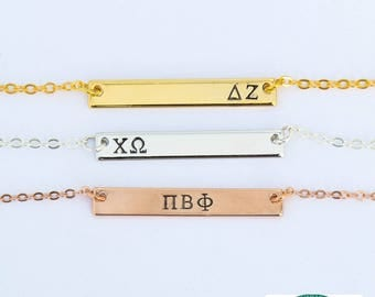 FREE SHIP • Sorority Necklace • Sorority Jewelry Sorority Gift Idea • Little Sister Gift Big Little Sorority • Sorority Jewelry Greek Letter