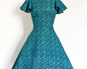 UK Size 8 Sea Blue Paisley Block Print Tea Dress - Made by Dig For Victory