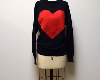 Vintage SAKS FIFTH AVENUE Black Cashmere Pullover Sweater w Hand Appliqued Heart Size M