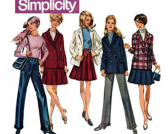 Simplicity 8402 Vintage 60s Jacket Pants Pleated Skirt Sewing Pattern Size 10 Bust 32 1/2 inches UNCUT Factory Folded