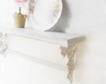 Wood Shelf w iron brackets.  White Shabby chic. Cottage China Plate Shelf w towel holder. French Nordic White. Painted distressed