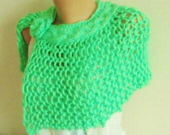 Spring weddings shawl spring green wedding capelet shawl hand knit capelet green bridesmaids
