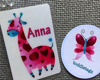 Kids Luggage Tag Diaper Bag Tag Giraffe Baby Shower Favor Nap Mat Name Tag Kids Name Tag  Name Tag Childrens Tag Baby Giraffe Party Favor