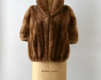 1950s Vintage Fur Wrap - 50s Blonde Mink Fur Cape Wrap Stole