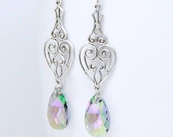 Swarovski Crystal Paradise Shine Earrings, Long Antique Silver Earrings, Filigree Heart Earrings, Colorful Earrings, Bridesmaid Jewelry Gift