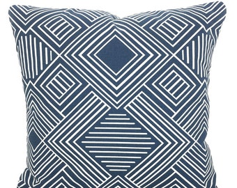 Blue White Pillow Covers Decorative Throw Pillows Cushions Premier Navy Blue White Geometric Phase Couch Bed Sofa Pillows Various Sizes