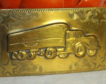 Vintage Semi Truck Belt Buckle Solid Brass Light weight Unisex Perfect for your favorite Trucker 3D truck with etched designs and stars