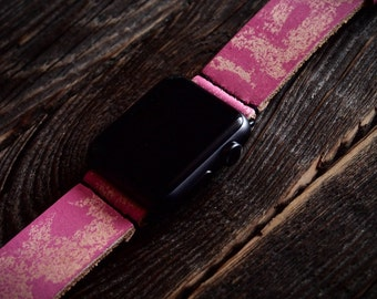 Fuchsia Apple Watch Band Strap 38mm -  Handmade leather strap/band for Apple Watch 38mm