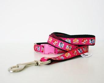 "Disney Princess 5/8"" Dog Collar Puppy Collar Cat Collar or Matching Lead"