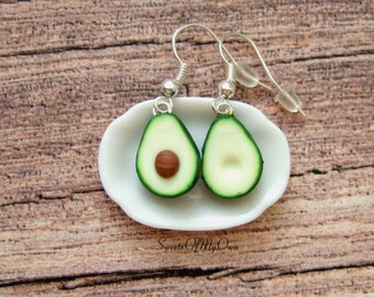 Avocado Earrings - Dangle Earrings - Fruit Food Jewellery - Handmade in UK with Polymer Clay