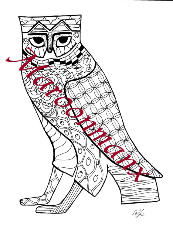 Unique Adult Coloring Page Egyptian Owl