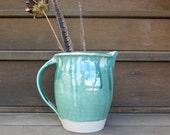 Aqua Green Kitchen Pitcher Flower Vase Home Decor in Crackly Drippy Glaze Gift Idea, Handmade Artisan Pottery by Licia Lucas Pfadt