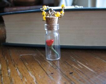 Gold rose necklace | single | quartzite | bottle pendant | miniature plant | flower | handmade | romantic gifts