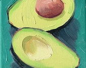 avocado kitchen art oil painting giclee print - 5x7 - Avocado Blues - Blue Plate Collection