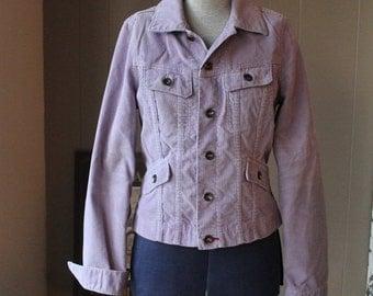 30% OFF Rare Lilac 90s Club Monaco Corduroy Jean Jacket Street Style Violet Spring jacket Denim jacket style grunge 90s cropped jacket