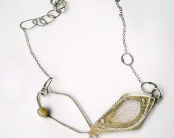 Agate Stalactite Slice Specimen/Rutilated Quartz Cabochon/Cicada Wing Specimen Contraption Necklace