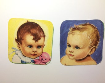 2x Magnets with upcycled scrap illustrations, adorable babies