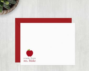 Personalized Stationery • Note from Teacher {FLAT} • 10 Note Cards with Envelopes • Personalized Thank You Notes • Custom Stationery • Apple