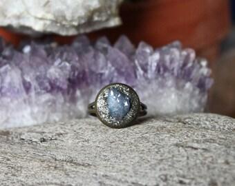 Tanzine Aura Quartz Ring - Purple Crystal Ring - Wiccan Jewelry - Crushed Pyrite - Bohemian Gypsy Festival Fashion - Aura Quartz Jewelry