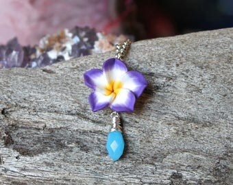 Purple Flower Necklace - Plumeria Jewelry - Gift for Her - Clay Flower Jewelry - Plumeria Necklace - Tropical Jewelry - Beach Island Style