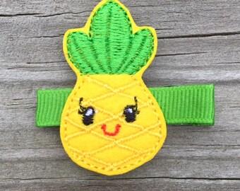 Pineapple Hair Clip, Pineapple Hair Bow, Summer Hair Clips, Felt Hair Clips, Yellow Pineapple Hair Clip, Girls Hair Clips, Toddler Hair Clip
