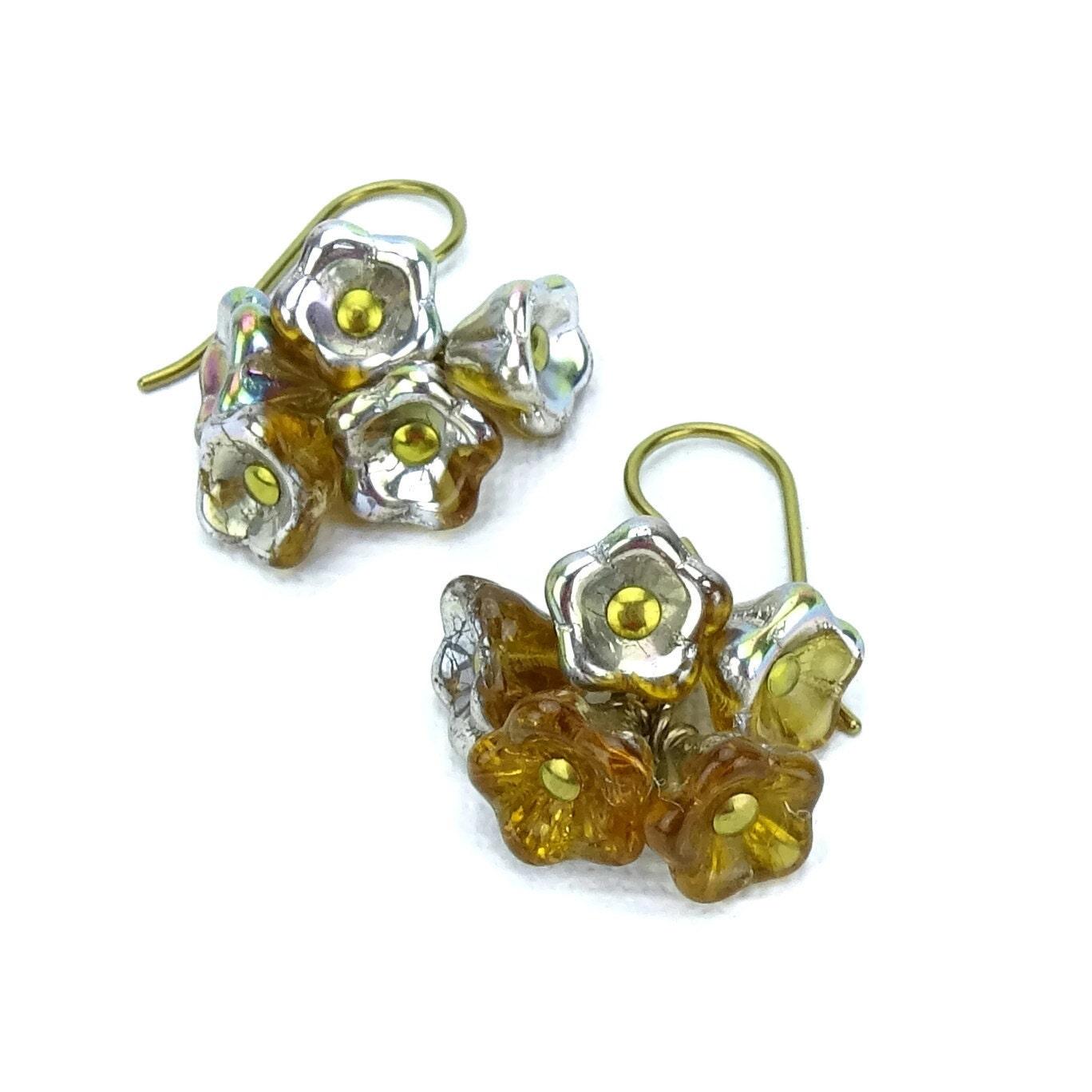 Niobium Earrings Metallic Topaz Cascading Flowers Earrings