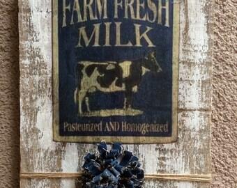 Vintage Wood Decor Farm Fresh Milk Cow Sign Plaque Blue White