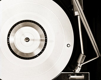 Fine Art Photograph - Square Image of Turntable - Vintage Record Player
