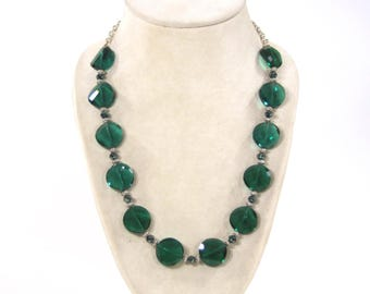 Teal Crystal and Silver Necklace