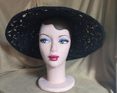 RESERVED FOR LIZ....Vintage 50's Black Hat, Large Platter Hat, Woven Crocheted Straw, New Look, Rockabilly, Mid Century,