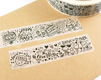 SHOP EXCLUSIVE - Favorite Things WASHI Tape - 3 day weekends, ice cream sundaes, travel the world, sunshine & lattes, free hugs - 24 yards