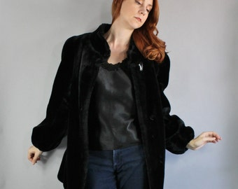 Vintage 80s does 40s style Women's Midnight Black Soft Vegan Faux Fur Gothic Romance Winter Victorian Revival Winter Wedding Coat
