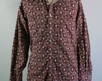 Western Shirt. Wrangler. Snap Button Shirt. Vintage. Cowboy Rodeo Shirt. Eggplant Purple Print. Size Xl. GOGOVINTAGE. FREE SHIPPING