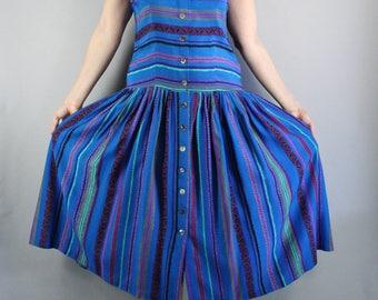 FREE SHIPPING Womens Summer Dress, Vintage 90s, Royal Blue, Boho Festival Dress, Sleeveless, Full Skirt, Midi Dress, Size Medium