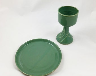 Spring Green Wheat Chalice and Paten Communion Set Handmade Pottery by Daisy Friesen