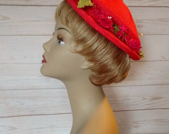 Vintage Cherry Red Hat - Red Straw Hat - Red Woven Hat - Red Hat with Flowers - Red Flower Hat - 1950s Red Hat - Wedding Hat - Spring Hat