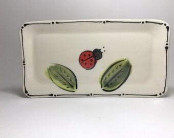 Handmade Lady Bug Sushi Plates - Porcelain Sushi Plates - Ceramic Sushi Plates - Porcelain Tapas Plate - Rectangular Plate - Ladybug Plate