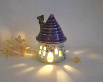 Garden Fairy House/ Night Light - with a Plum/ Purple  Roof - a Chimney - Hand Made on Pottery Wheel - Hand Painted Vine - Ready to Ship